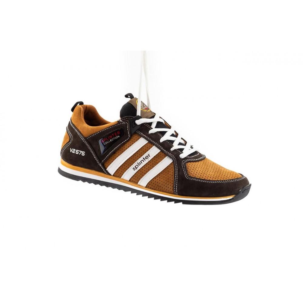 Демисезонные кроссовки мужские   - Мужские кроссовки кожаные весна/осень коричневые-рыжие Splinter V2 3014 перф
