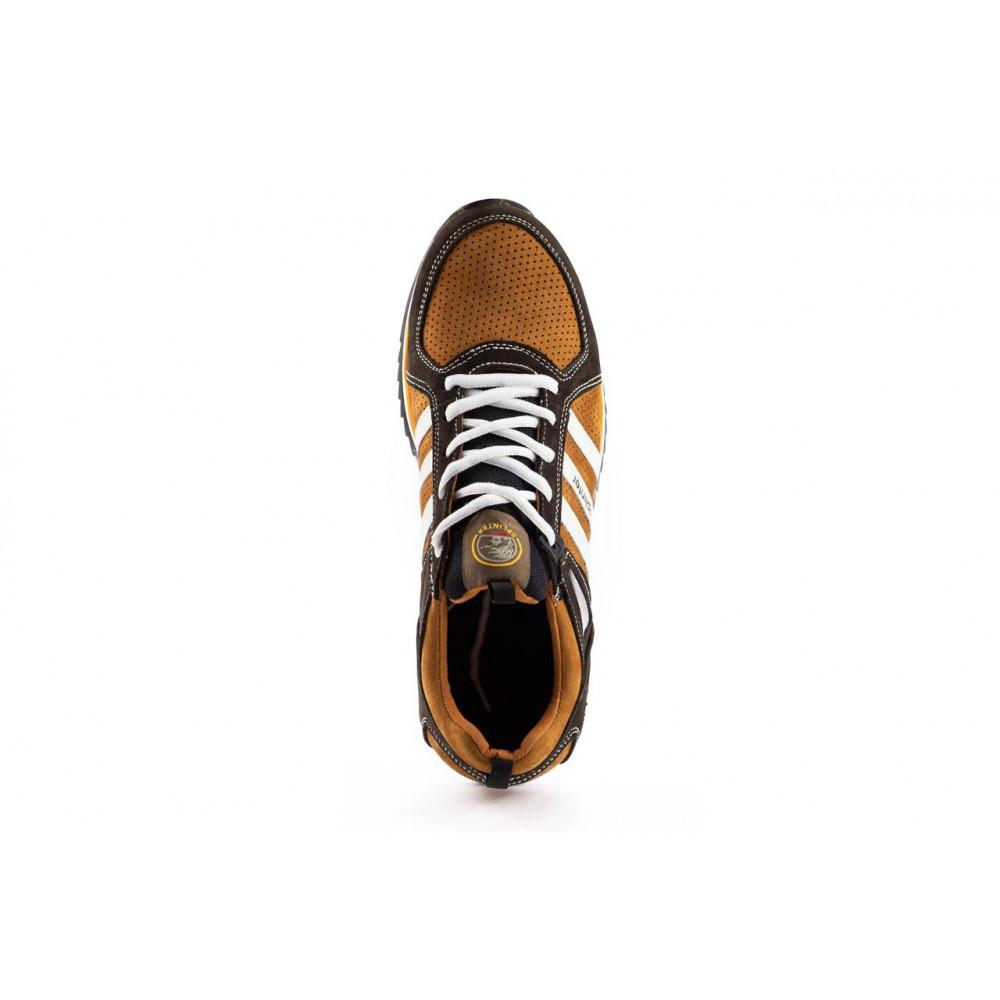 Демисезонные кроссовки мужские   - Мужские кроссовки кожаные весна/осень коричневые-рыжие Splinter V2 3014 перф 4