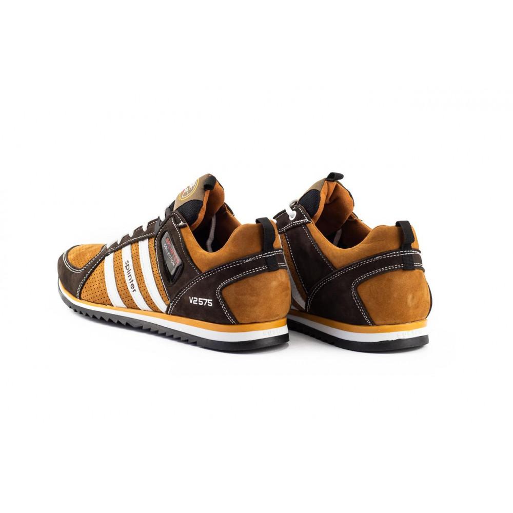 Демисезонные кроссовки мужские   - Мужские кроссовки кожаные весна/осень коричневые-рыжие Splinter V2 3014 перф 3