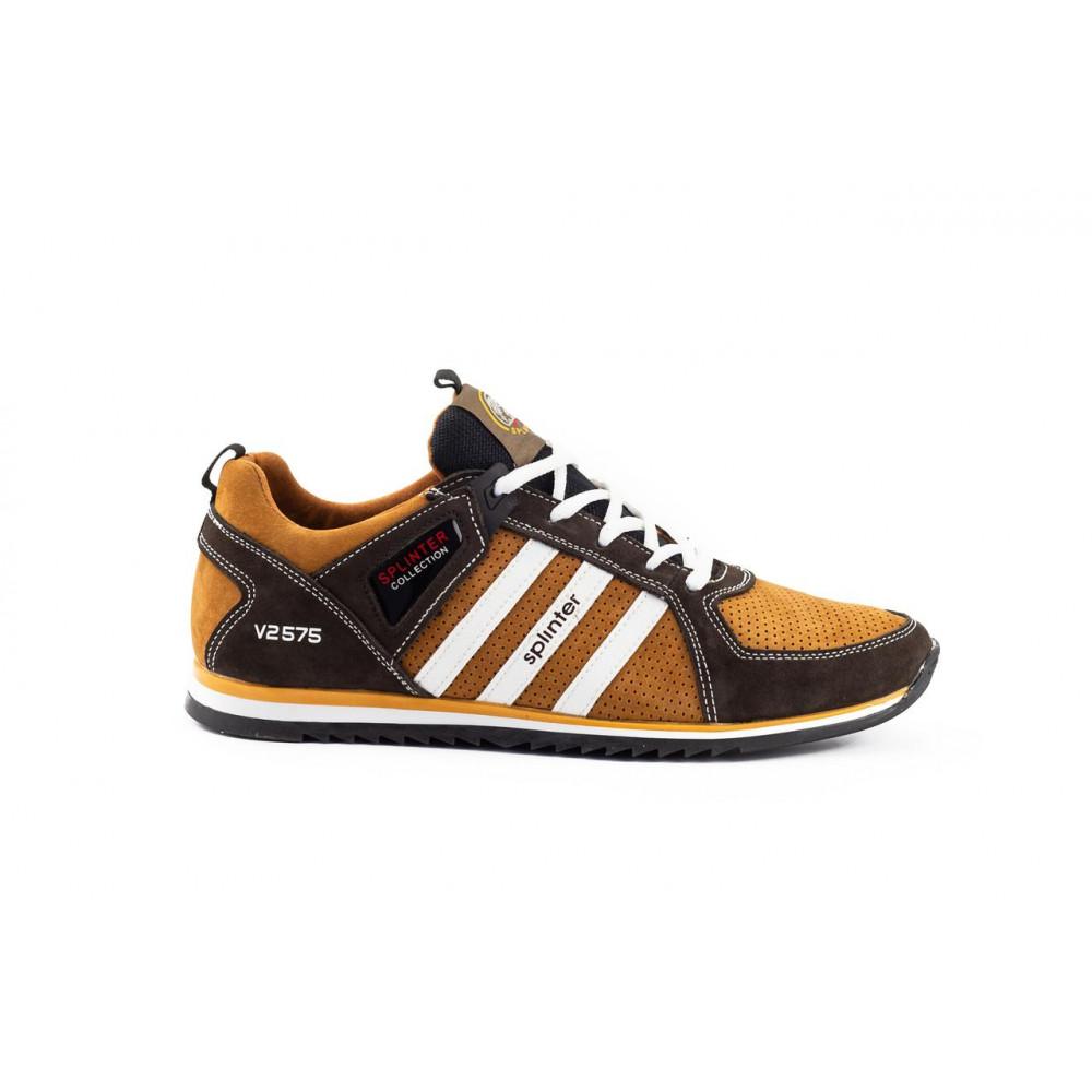 Демисезонные кроссовки мужские   - Мужские кроссовки кожаные весна/осень коричневые-рыжие Splinter V2 3014 перф 2