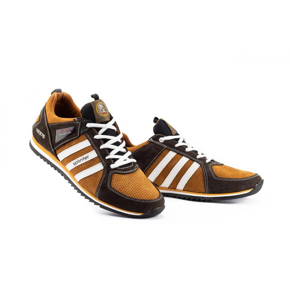 Демисезонные кроссовки мужские   - Мужские кроссовки кожаные весна/осень коричневые-рыжие Splinter V2 3014 перф 1
