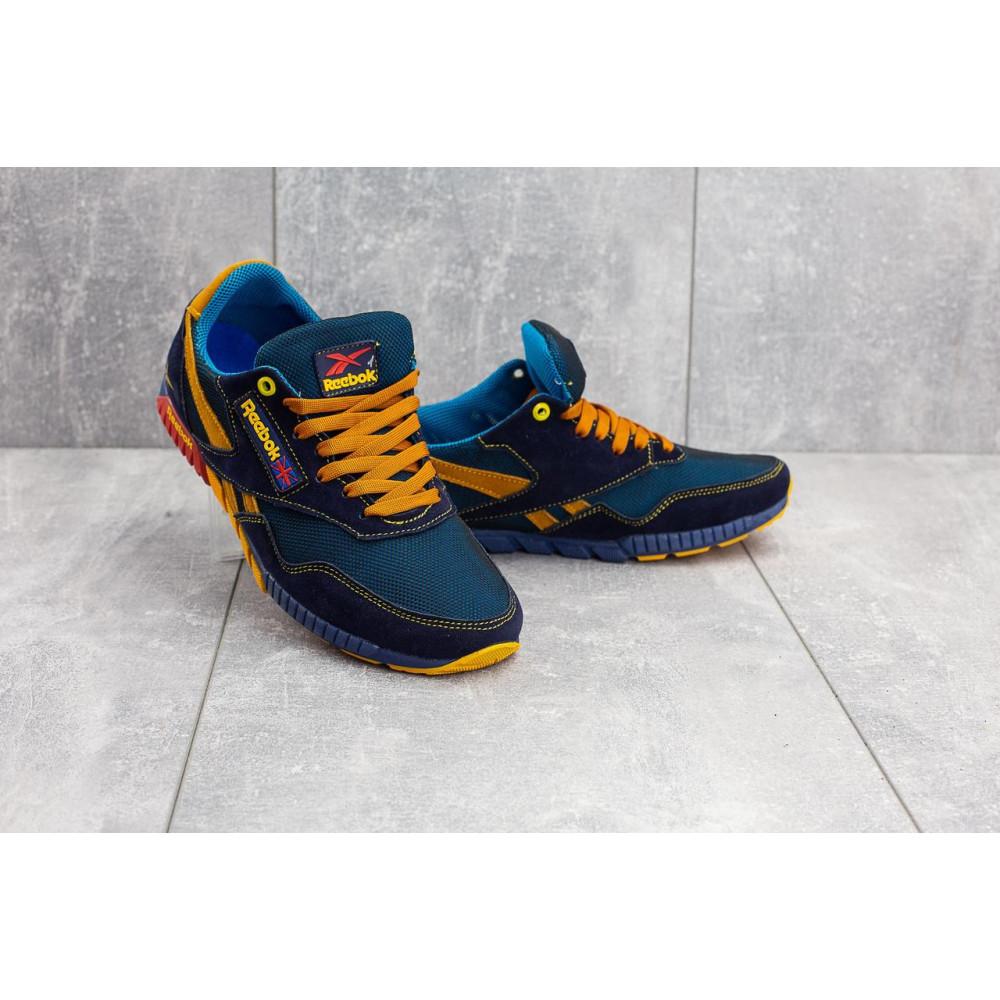 Летние кроссовки мужские - Мужские кроссовки текстильные летние синие-рыжие CrosSAV 18