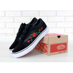 Кеды Vans Old Skool Art Black Rose (Ванс Олд Скул Арт розы) черного цвета женские и мужские размеры