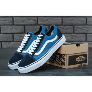 Кеды Vans Old Skool Navy Blue (Ванс Олд Скул) синего цвета женские и мужские размеры
