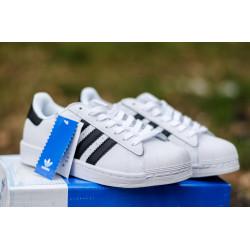 Женские кроссовки Adidas Superstar White Gold бело-золотые