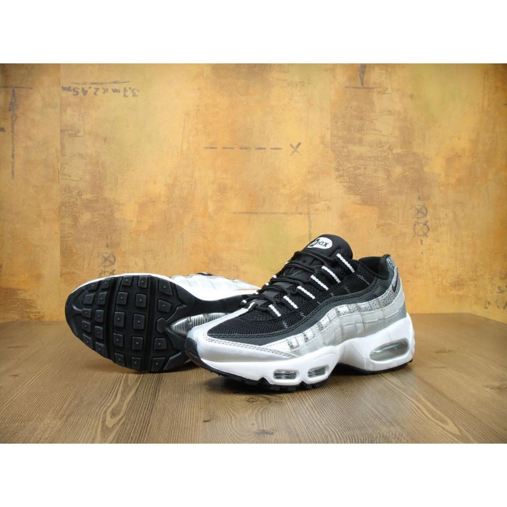 Демисезонные кроссовки мужские   - Мужские модные кроссовки Nike Air Max 95 Silver Black 4