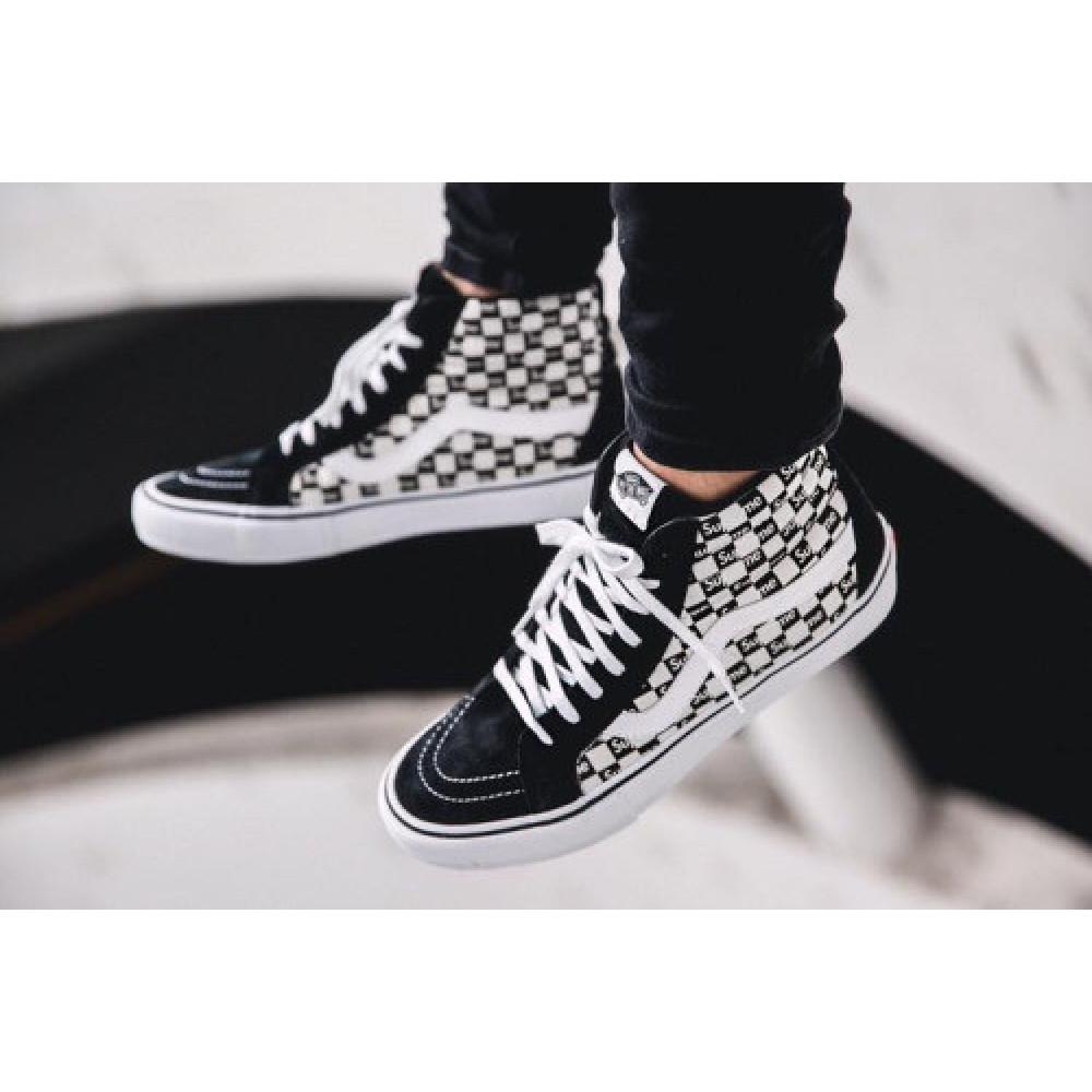 Мужские кеды летние - Кеды Vans SK8 Old Skool Black White x Supreme  5