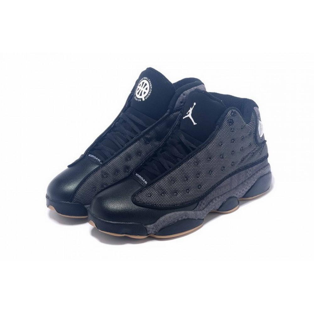 Демисезонные кроссовки мужские   - Баскетбольные кроссовки Air Jordan 13 High QUAI 54 Shoes Black Grey Khaki 2