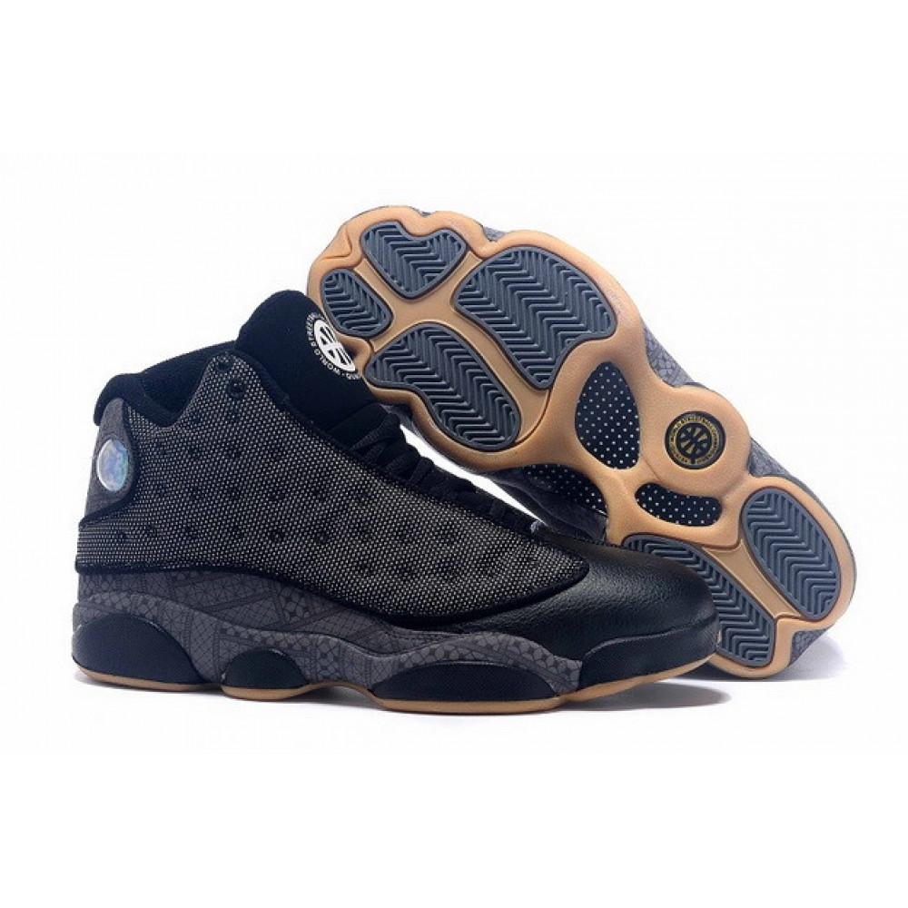 Демисезонные кроссовки мужские   - Баскетбольные кроссовки Air Jordan 13 High QUAI 54 Shoes Black Grey Khaki