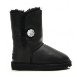 "UGG BAILEY BUTTON BOOT LEATHER BLING ""BLACK"""