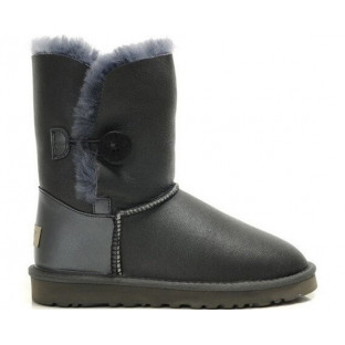 "UGG BAILEY BUTTON II BOOT LEATHER ""GREY"""