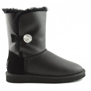 "UGG BAILEY BUTTON II BOOT LEATHER BLING ""BLACK"""