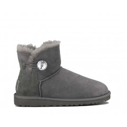 "UGG MINI BAILEY BUTTON BLING BOOT ""GREY"""
