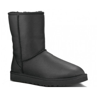 "UGG CLASSIC SHORT II LEATHER BOOT ""BLACK/METALLIC"""