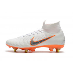 "Футбольные бутсы Nike Mercurial Flyknit Superfly VI Elite SG AC ""White/Orange"""